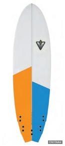 PLANCHE DE SURF - FISH - LONGUEUR : 6'3 - VENON SURFBOARD - POLYESTER - WINGFISH - 5 x FCS - BLANCHE / BLEU / ORANGE