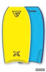 "BODYBOARD - HAUTEUR : 37"" - TAIL : CRESCENT - CORE : EPS - FLOOD BODYBOARD - DYNAMX - JAUNE / BLEU"