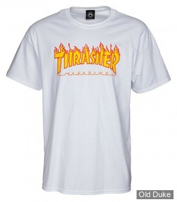 TEE-SHIRT THRASHER MAGAZINE - FLAME LOGO - BLANC - TAILLES DISPONIBLES : S - M - L - XL