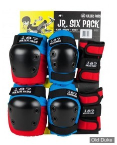 KIT DE PROTECTION - 187 KILLER PADS - JR SIX PACK SET - STAAB RED/WHITE/BLUE- TAILLE : UNIQUE ENFANTS 4 à 8 ans entre 18 à 30 kilos