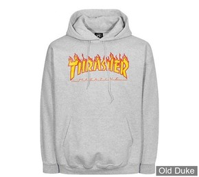 SWEAT SHIRT A CAPUCHE - THRASHER MAGAZINE - GREY FLAME HOODIE - GRIS CHINE