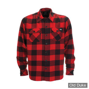 CHEMISE A MANCHES LONGUES - DICKIES - SACRAMENTO - COULEUR : ROUGE - TAILLE : S