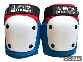 KIT DE PROTECTION - 187 KILLER PADS - GENOUILLERES FLY  KNEE - RED/WHITE/BLUE - TAILLE : L ADULTE