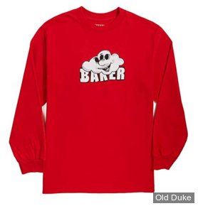 TEE-SHIRT A MANCHES LONGUES - BAKER - CLOUD 3 - RED - TAILLE : S