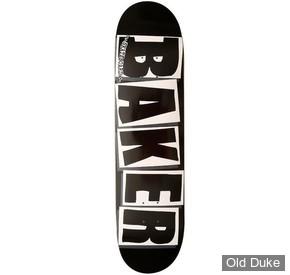 """DECK - 8"""" - BAKER - TEAM BRAND LOGO BLACK / WHITE DECK"""
