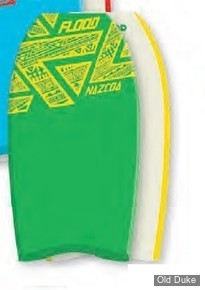 "BODYBOARD - HAUTEUR : 37"" - TAIL : CRESCENT - CORE : EPS - FLOOD BODYBOARD - NAZCOA 37 - VERT / BLANC"