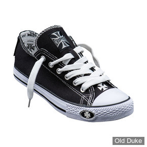 CHAUSSURES - WEST COAST CHOPPERS - BASKETS - WARRIOR LOW TOPS  - NOIR / BLANC - TAILLE : 42