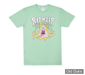 TEE-SHIRT - RIPNDIP - SHOCKED  TEE - MINT MINERAL WASH - TAILLE : M