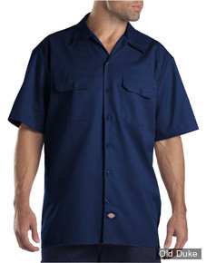 CHEMISE A MANCHES COURTE - DICKIES - SHORT SLEEVE WORK SHIRT #1574 - RELAXED FIT - COULEUR : BLEU MARINE / DARK NAVY - TAILLE : XXXL