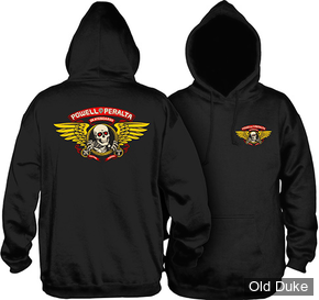 SWEAT SHIRT A CAPUCHE - POWELL PERALTA - WINGED RIPPER - BLACK - TAILLE : S