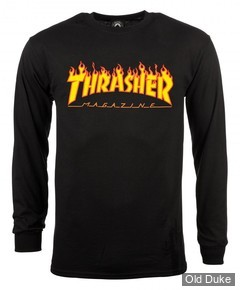 TEE-SHIRT A MANCHES LONGUES - THRASHER MAGAZINE - FLAME LOGO - BLACK - TAILLE : L