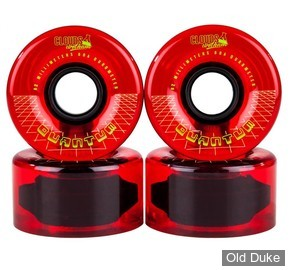 ROUES ROLLER QUAD - CLOUDS URETHANE WHEELS - QUANTUM - D/62MM - 80A - CLEAR / RED