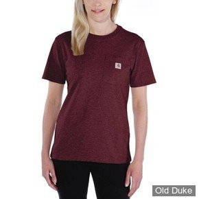 TEE-SHIRT - CARHARTT - LADIES WORKWEAR POCKET SHORT SLEEVE T-SHIRT - WINE - TAILLE : S