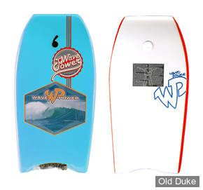 "BODYBOARD - HAUTEUR : 40"" - TAIL : CRESCENT - CORE : EPS - WAVE POWER - SUSPECT WP - BLEU CIEL / ROUGE"