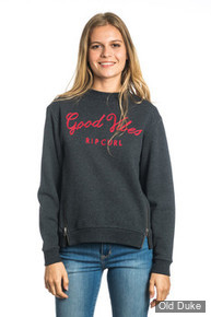 SWEAT  FEMME - RIP CURL - GOOD VIBES FLEECE - BLACK MARLE / GRIS FONCE