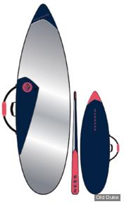 HOUSSE DE SURF - SHORTBOARD - LONGUEUR : 6'8 - POUR 1 PLANCHE - MADNESS BOARDBAG - NAVY / FLUO RED