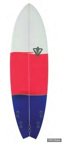 PLANCHE DE SURF - FISH - LONGUEUR : 6'0 - VENON SURFBOARD - POLYESTER - FISH - 5 x FCS - BLANCHE / ROUGE / BLEU