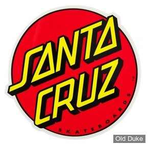 "AUTOCOLLANT / DECAL - SANTA CRUZ - Santa Cruz Stickers Classic Dot - COULEUR : ROUGE & JAUNE - DIAMETRE : 3"""