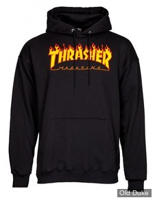SWEAT SHIRT A CAPUCHE - THRASHER MAGAZINE - FLAME LOGO - NOIR - TAILLE : S