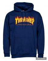 SWEAT SHIRT A CAPUCHE - THRASHER MAGAZINE - FLAME LOGO - NAVY - TAILLE : S