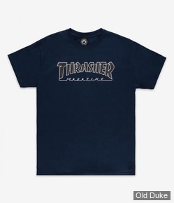 TEE-SHIRT THRASHER MAGAZINE - OUTLINED - NAVY - TAILLE : S