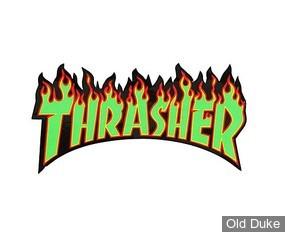 AUTOCOLLANT / DECAL - THRASHER MAGAZINE -THRASHER FLAME STICKER  - VERT / ROUGE / NOIR