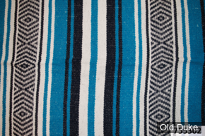 COUVERTURE MEXICAINE - TEXAS LEATHER - MEXICAN BLANKET - TYPE : VERACRUZ - BLEU NUIT, TURQUOISE & BLANC