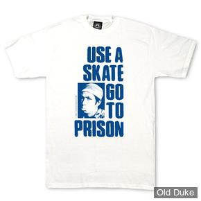 TEE-SHIRT - THRASHER MAGAZINE - USE A SKATE GO TO PRISON - WHITE - TAILLE : L