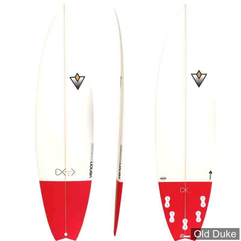 PLANCHE DE SURF - SHORTBOARD - LONGUEUR : 6.3 - VENON SURFBOARD - POLYESTER - EDV2 - 5 x FCS - WHITE / BURGUNDY
