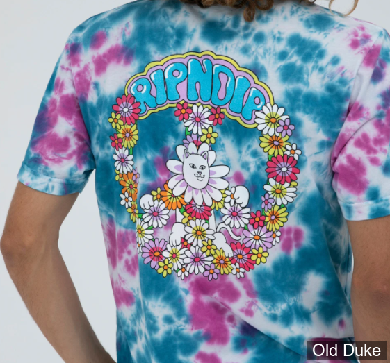 TEE-SHIRT - RIPNDIP - HIPPE DIPPIE TEE - PINK / BUE DYE - TAILLE : M
