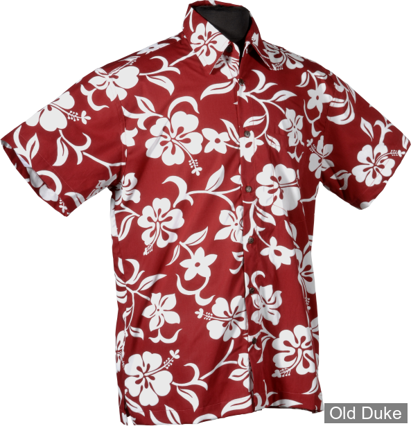 CHEMISE A MANCHES COURTE - HIGH SEAS TRADING CO - Hawaii Hibiscus - ROUGE - TAILLE : L