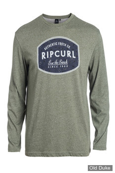 TEE-SHIRT MANCHE LONGUE - RIP CURL - SCRATCHED WINDOW LS TEE - DUSTY OLIVE / VERT OLIVE - TAILLE : XL