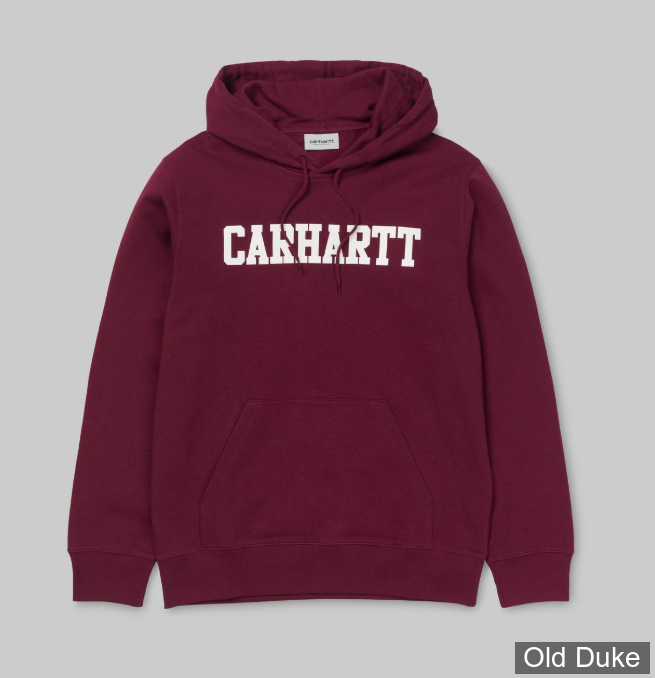 SWEAT SHIRT A CAPUCHE - CARHARTT WORK IN PROGRESS - HOODED COLLEGE - MULBERRY / WHITE