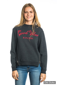 SWEAT  FEMME - RIP CURL - GOOD VIBES FLEECE - BLACK MARLE / GRIS FONCE - TAILLE : M