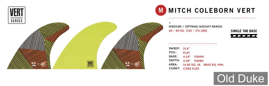 "DERIVE - PLUGS FUTURE - HAUTEUR 4.59"" - CREATURES - MITCH COLEBORN VERT SERIES - TAILLE : M - 3 PIECES - 1 WAX OFFERT"