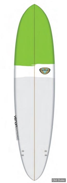 PLANCHE DE SURF - MINI MALIBU - LONGUEUR : 7'6 - VENON SURFBOARD - POLYESTER - EGG - 3 FINS FCS Plugs - VERT/BLANC/GRIS