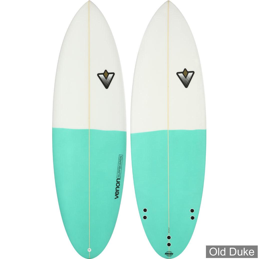 PLANCHE DE SURF - HYBRIDE - LONGUEUR : 6'0 - VENON SURFBOARD - POLYESTER - CANDY - ALAIN MINVIELLE - 3 x FCS - BLANCHE & VERT AQUA